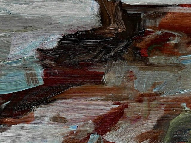 Running slow in tiny spaces I    Oil on wood   10 x 40 cm