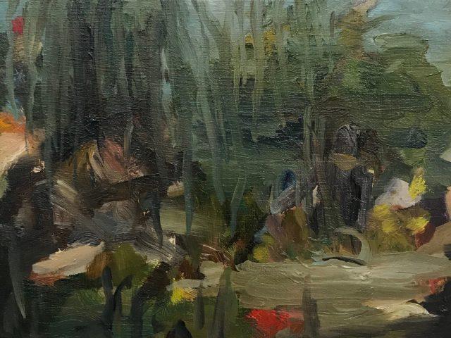 Secret garden - oil on wood 10 x 14 cm